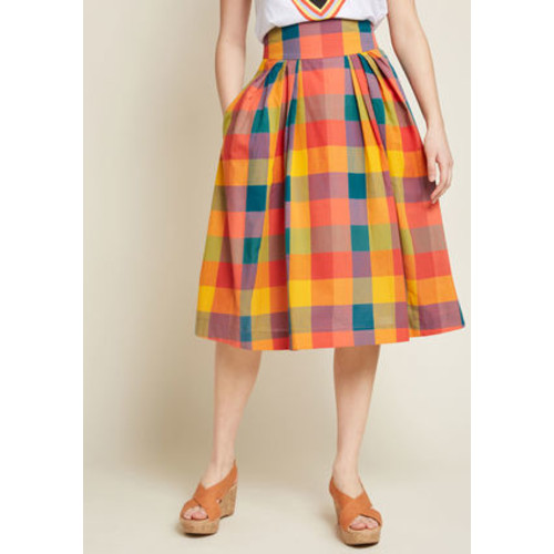 Emily and Fin Far-Out and Fabulous Midi Skirt in Plaid