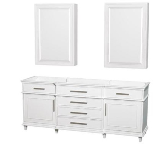 Wyndham Collection Berkeley 80 in. Double Vanity with Medicine Cabinets in White