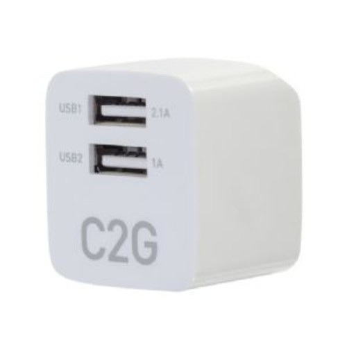 C2G 2-PORT USB WALL CHARGER - AC TO USB ADAPTER, 5V 2.1A OUTPUT (22322)