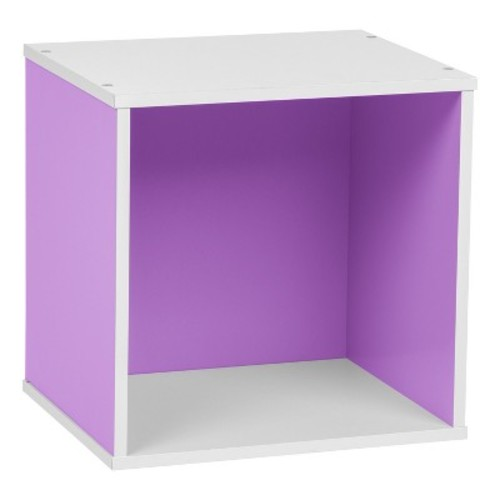 IRIS Baku Wood Storage Cube Box - Purple