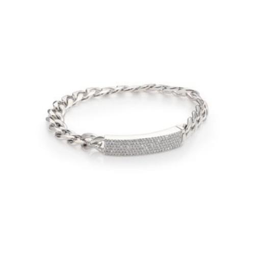 Pav Crystal Curb Link Bracelet/Silvertone