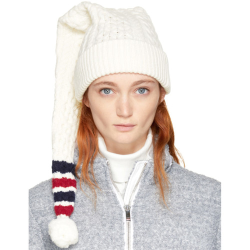 THOM BROWNE White Aran Four Bar Long Stocking Beanie