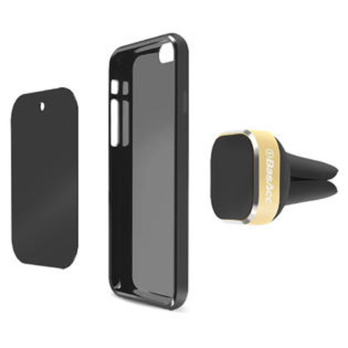 BasAcc Gold Universal Magnetic Mount Car Air Vent Phone Holder and Kickstand for Apple iPhone 6S Plus/ Samsung Galaxy S7 Edge