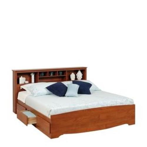 Prepac Monterey Cherry King Platform Storage Bed