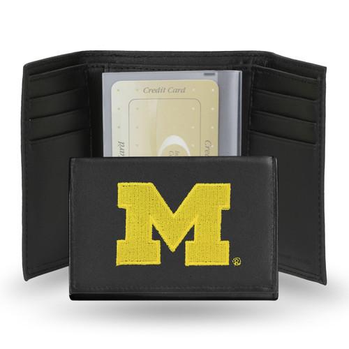 Rico Michigan Wolverines Men's Black Leather Tri-fold Wallet