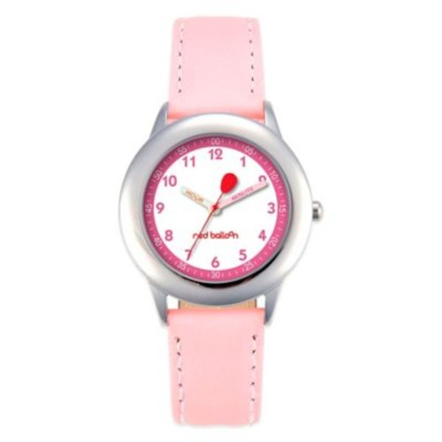 Red Balloon Children's 30mm Time Teacher Watch in Stainless Steel with Pink Strap