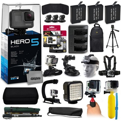 GoPro HERO5 Black Edition + 64GB All You Need 23 Piece Accessory Bundle
