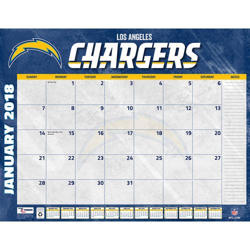 Turner 2018 NFL Los Angeles Chargers Desk Calendar