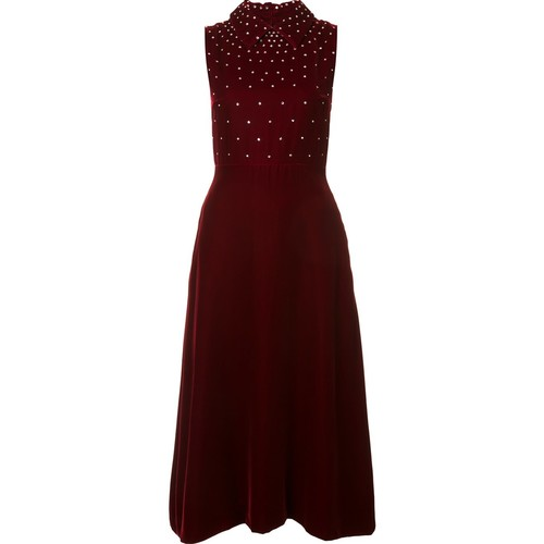 SAINT LAURENT Crystal Embellished Sleeveless Dress