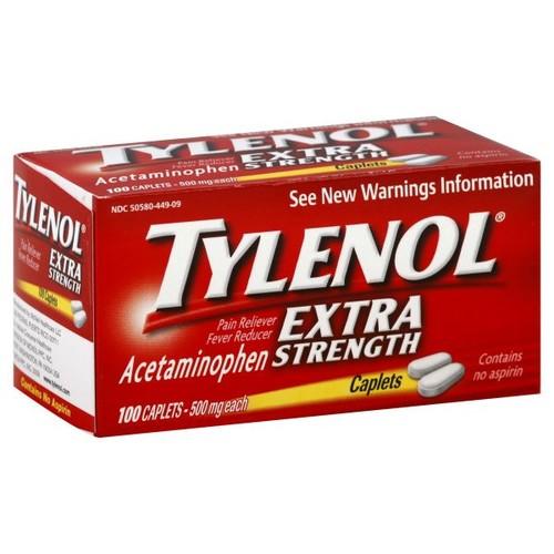 Tylenol Extra Strength Pain Reliever/Fever Reducer, 500 mg, 100 caplets