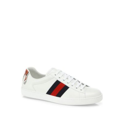 Ace Tiger-Back Leather Low-Top Sneakers