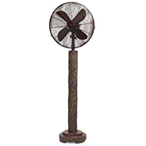 DecoBREEZE Pedestal Fan Adjustable Height 3-Speed Oscillating Fan, 16-Inch, Fir Bark [Fir Bark]