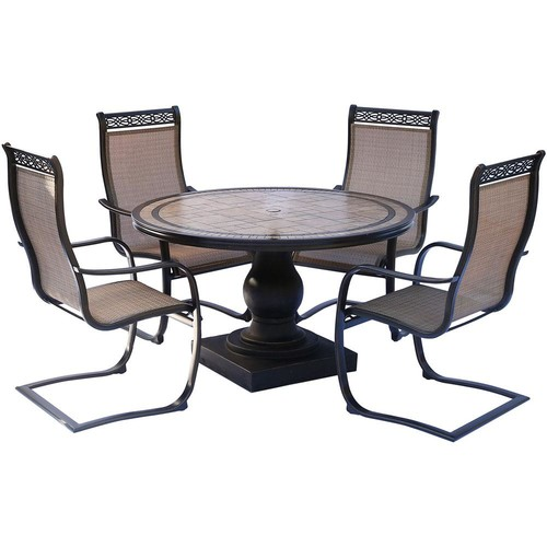 Hanover Monaco 5-Piece Aluminum Outdoor Dining Set with Round Tile-Top Table and Contoured Sling Spring Chairs