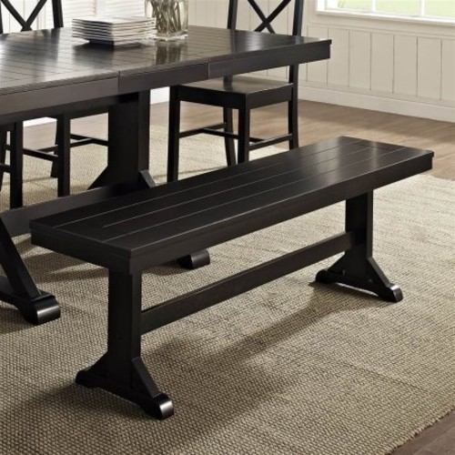 Wood Bench in Antique Black