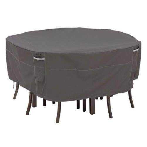 Classic Accessories Ravenna Small Round Patio Table and Chair Set Cover in Dark Taupe