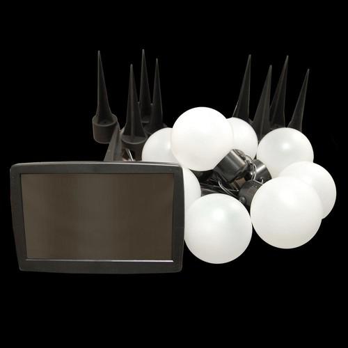 Lumabase 8-Light White Solar Powered Plastic Lanterns String Light