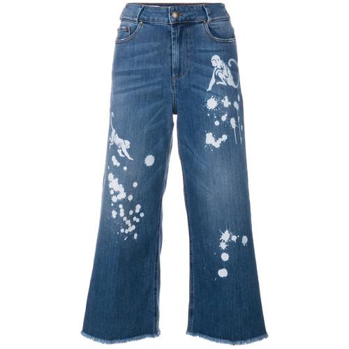paint splash cropped jeans