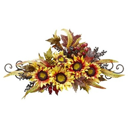 Sunflower Swag with Metal Frame - Nearly Natural
