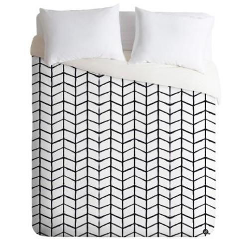Black & White Wonder Forest Gridlock Duvet Cover - Deny Designs