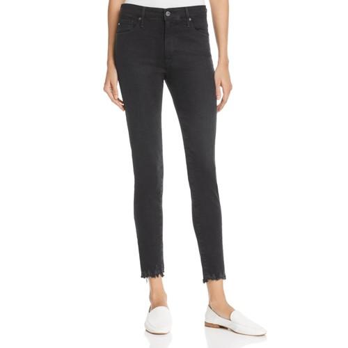 AG Farrah Destroyed Hem Skinny Ankle Jeans In Black Storm