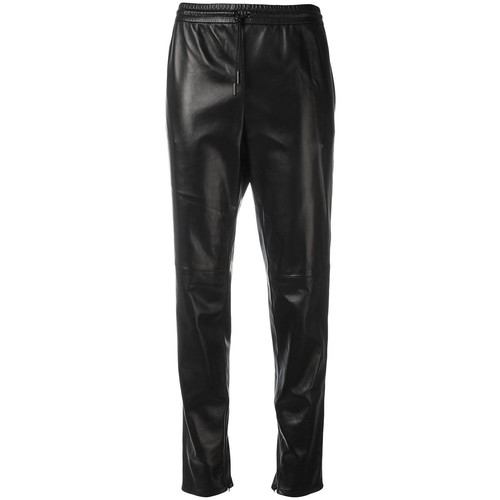 SAINT LAURENT Leather Straight Leg Trousers