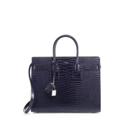 SAINT LAURENT Small Sac De Jour Croc-Embossed Leather Tote