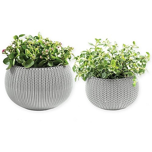 Keter Cozies Knit 2-Piece Round Resin Indoor/Outdoor Planter Set in Oasis White (Set of 2)