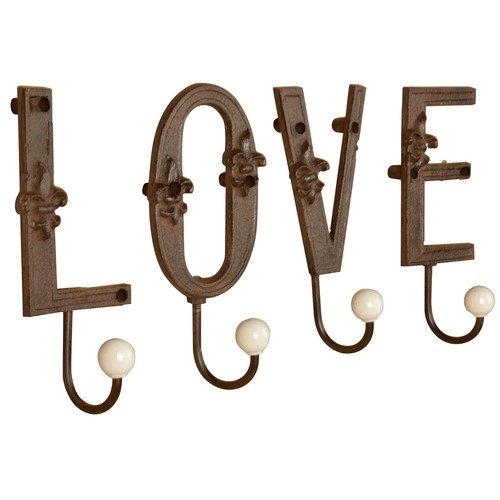 Esschert Design Love Cast Iron Single Letter Hooks