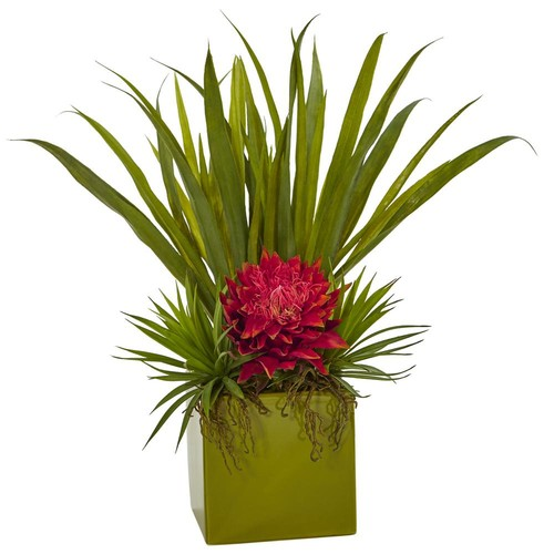 Nearly Natural Tropical and Succulent Artificial Arrangement in Orchid