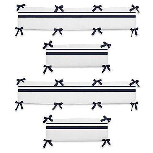 Sweet Jojo Designs Hotel Crib Bumper in White/Navy