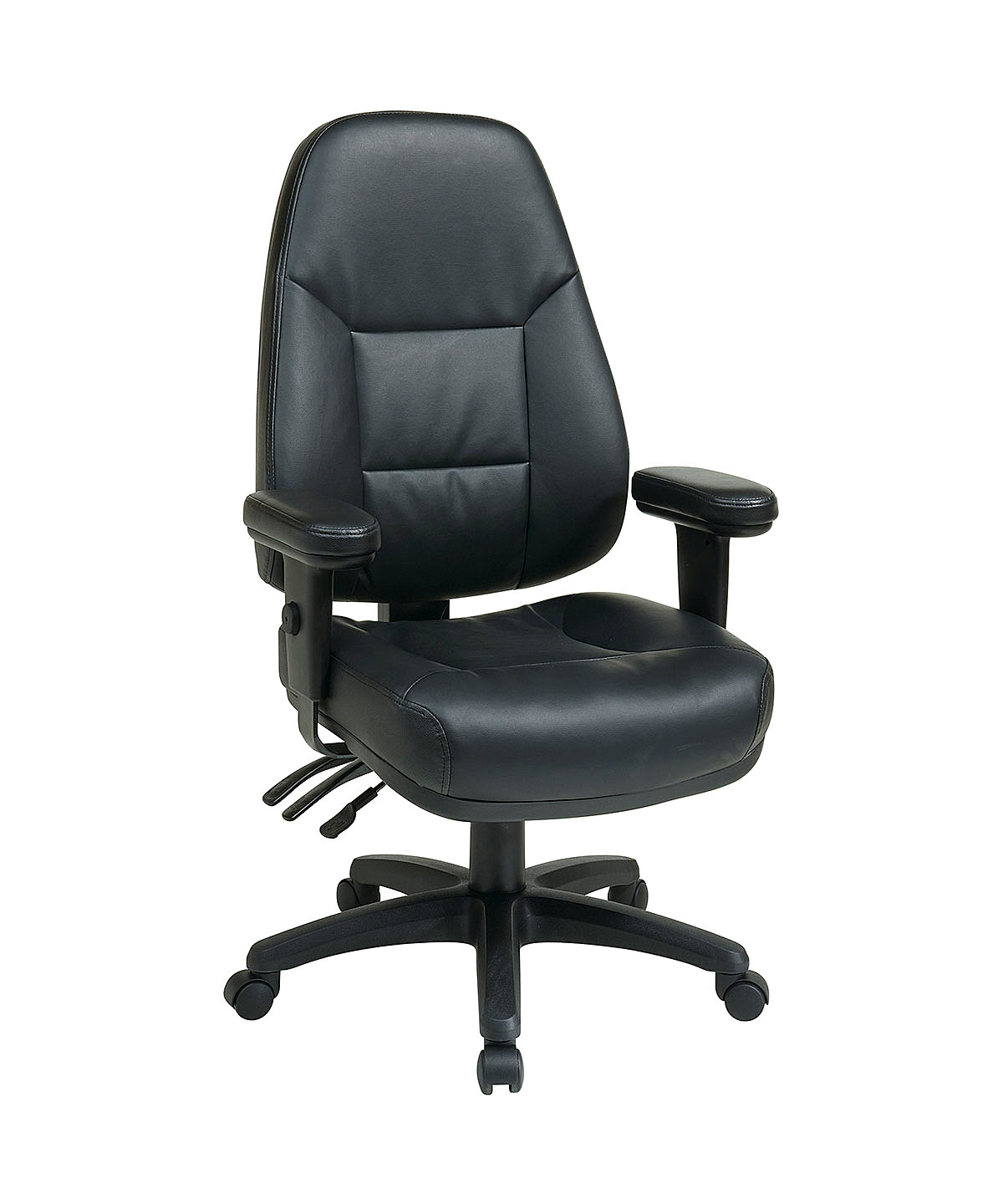 Work Smart Black Leather High Back Office Chair