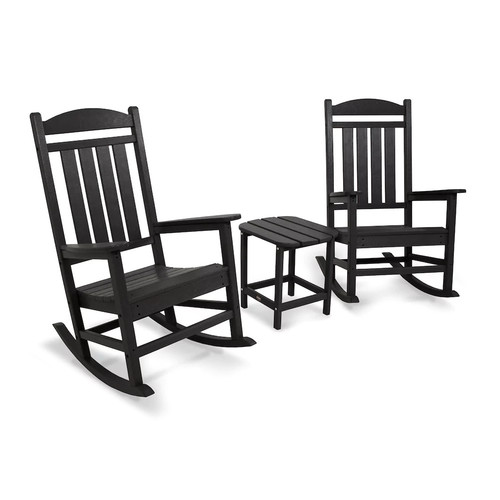 POLYWOOD 3-piece Presidential Outdoor Rocking Chair & Square Side Table Set