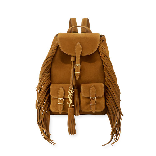 SAINT LAURENT Festival Small Suede Fringe Backpack, Tan