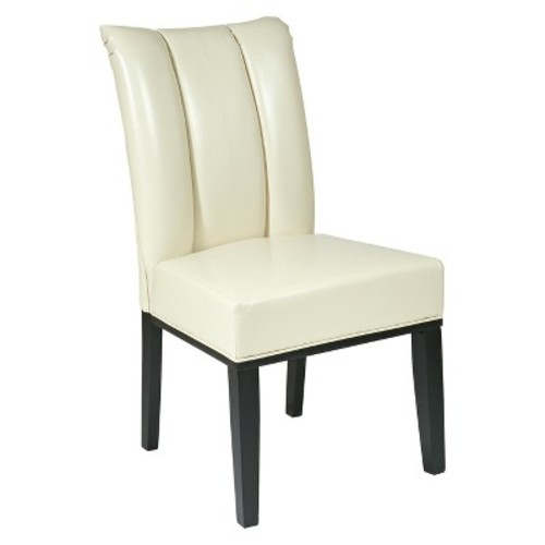 Pleated Back Dining Chair Wood/Cream - Office Star