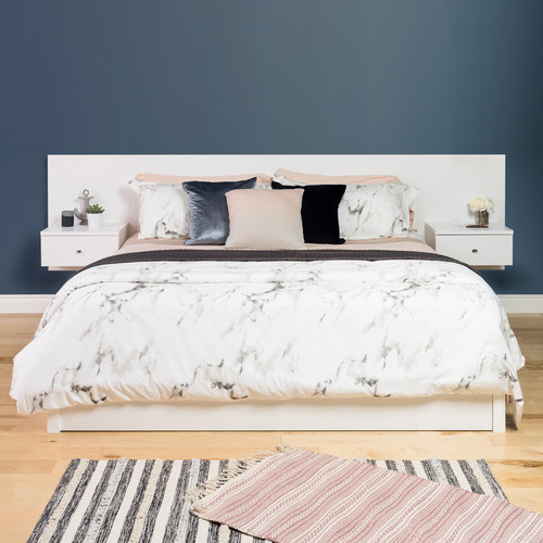 Prepac Manufacturing Ltd Floating King Headboard with Nightstands, White