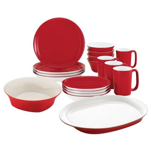 Rachael Ray Round and Square 18-Piece Dinnerware Set - Red
