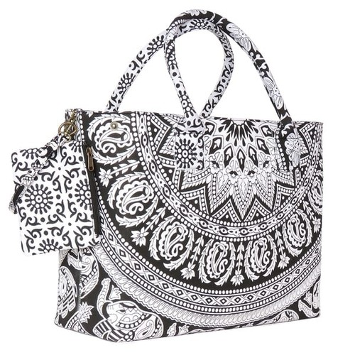 Fabulously Printed Black and White Beach Bag