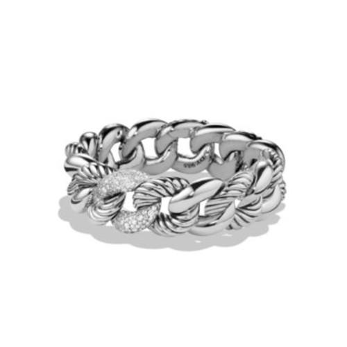 Belmont Link Bracelet with Diamonds