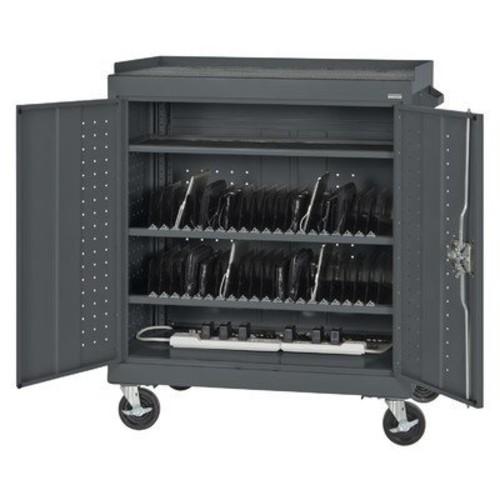 40-Compartment Laptop Storage Cart Color: Charcoal