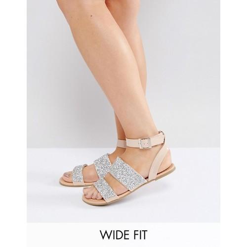 ASOS FANCY FEET Wide Fit Embellished Flat Sandals