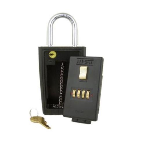 NUSET 4-Number Combination Lockbox Key Storage Lock Box with Key-Locking Shackle