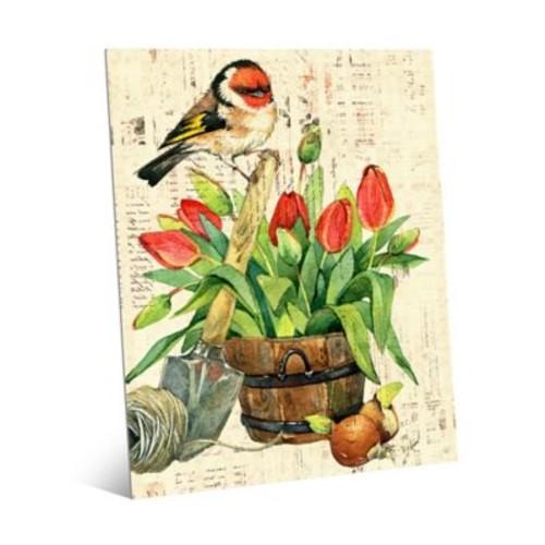Garden Bird & Red Tulips 20-Inch x 24-Inch Metal Wall Art