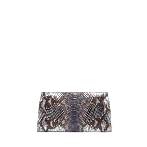 Metallic Python Slicer Clutch Bag