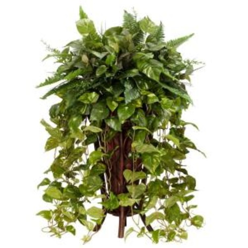 Nearly Natural 36 in. H Green Vining Mixed Greens with Decorative Stand Silk Plant