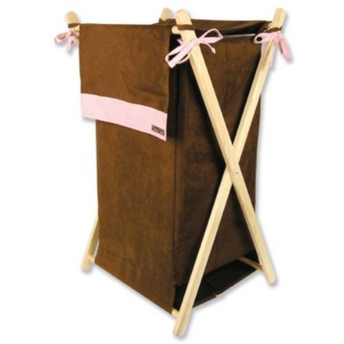 Trend Lab Maya Laundry Hamper; Brown and Pink Suede