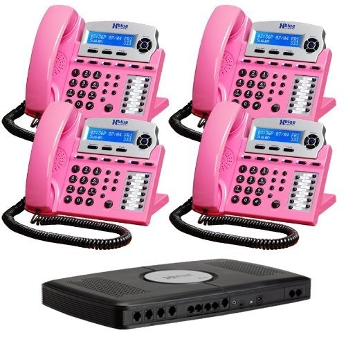 X16 6-Line Small Office Phone System with 4 Pink X16 Telephones - Auto Attendant, Voicemail, Caller ID, Paging & Intercom