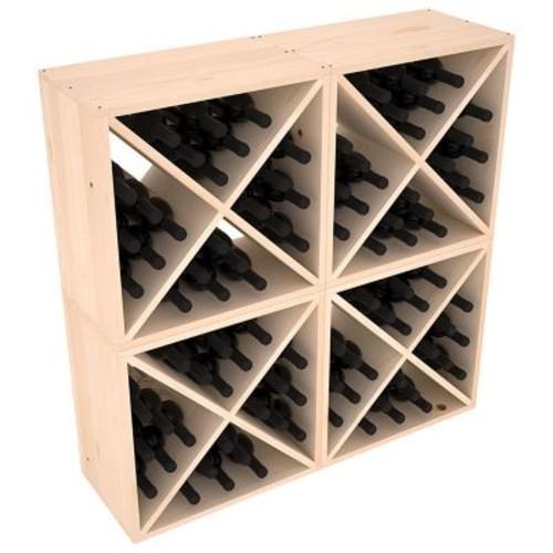 Red Barrel Studio Karnes Pine X-Cube 96 Bottle Floor Wine Rack; Natural