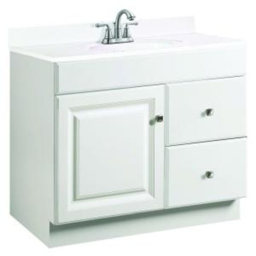Design House Wyndham 36 in. W x 21 in. D Unassembled Vanity Cabinet Only in White Semi-Gloss