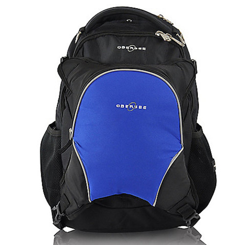 Obersee Oslo Diaper Bag Backpack with Detachable Cooler in Black/Royal Blue