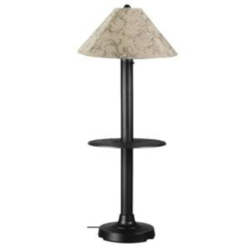 Patio Living Concepts Catalina 63.5 in. Black Floor Lamp with Tray Table and Bessemer Linen Shade